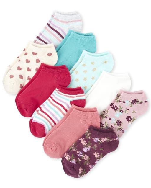 Girls Flower Ankle Socks 10-Pack