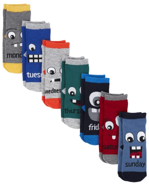 Toddler Boys Days Of The Week Monster Midi Socks 7-Pack