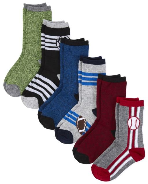 Boys Sports Crew Socks 6-Pack