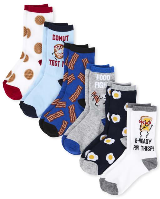 Boys Breakfast Crew Socks 6-Pack