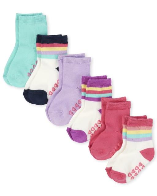 Toddler Girls Rainbow Striped Super Soft Midi Socks 6-Pack