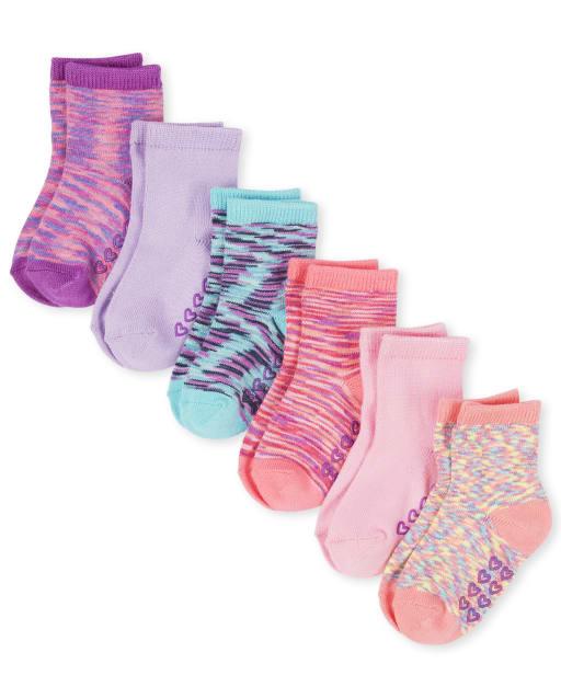 Toddler Girls Space Dye Super Soft Midi Socks 6-Pack