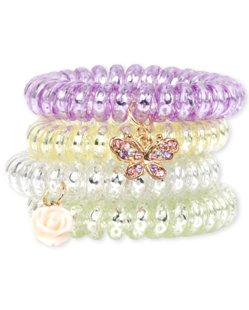 Girls Butterfly Coil Bracelet 4-Pack