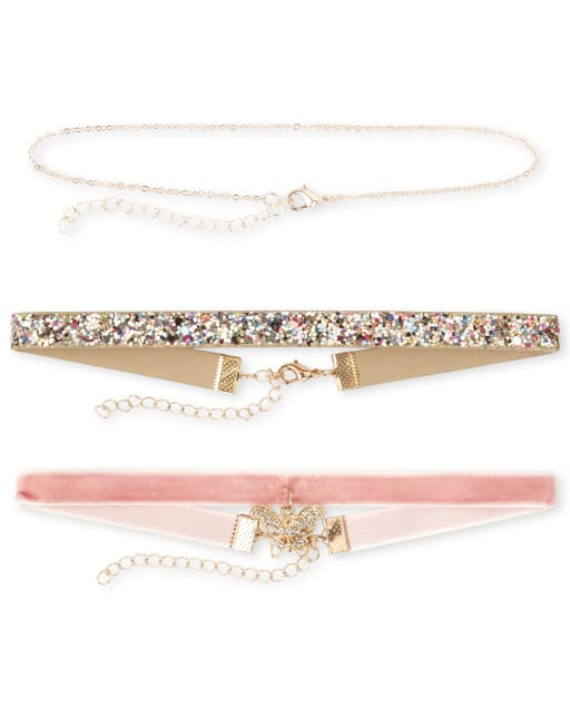 Girls Butterfly Choker Necklace 3-Pack