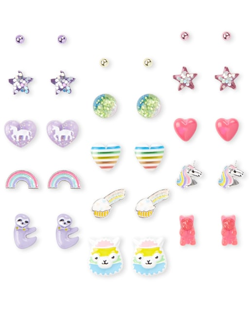 Girls Rainbow Earrings 15-Pack