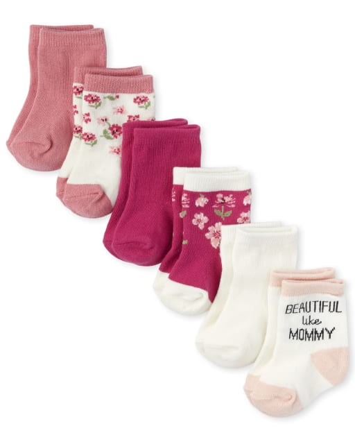 Baby Girls Flower Midi Socks 6-Pack