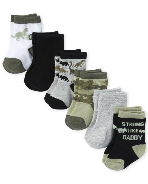 Pack de 6 pares de calcetines a media pierna Dino para bebé niño