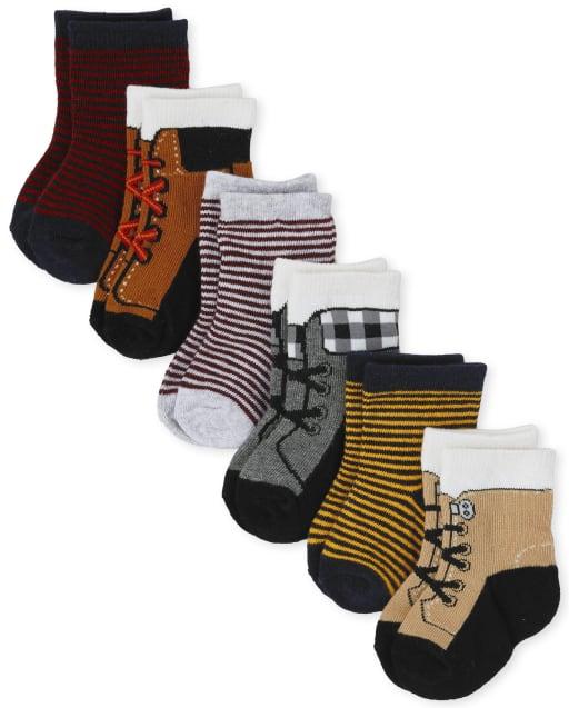 Pack de 6 pares de calcetines a media pierna con zapatos a rayas para bebé niño