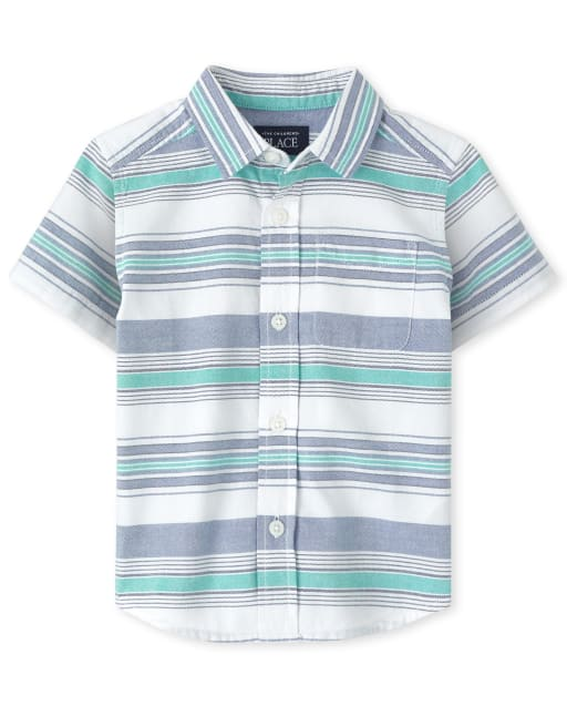 Baby And Toddler Boys Short Sleeve Striped Oxford Button Down Shirt