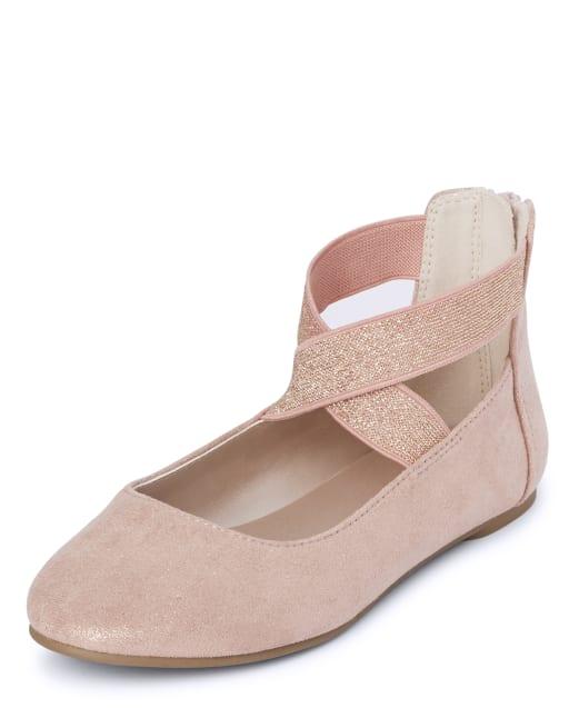 Girls Rose Gold Wrap Ballet Flats