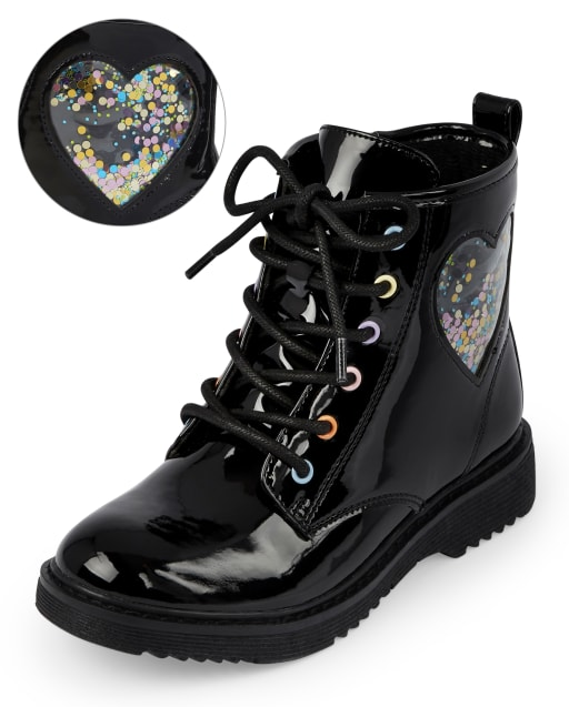 Girls Confetti Shaker Heart Lace Up Booties
