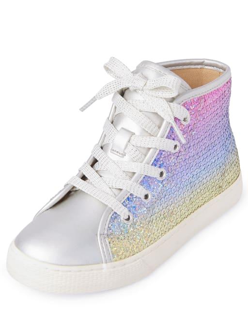 Girls Rainbow Sequin Hi Top Sneakers