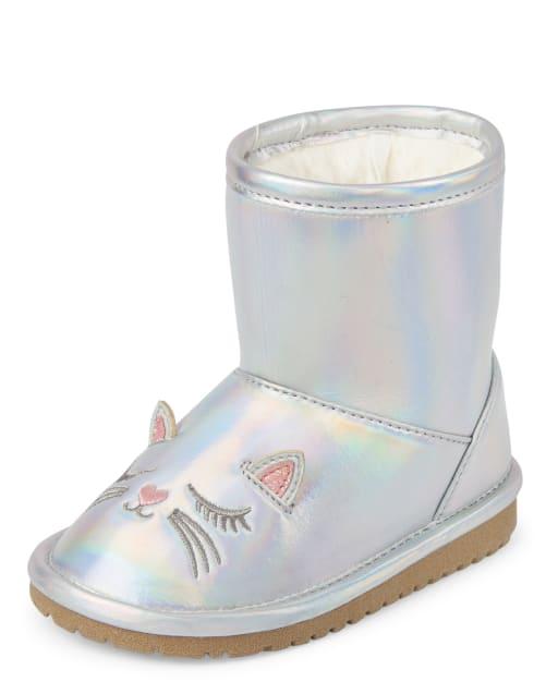 Toddler Girls Iridescent Cat Boots