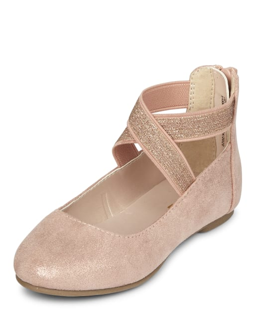 Toddler Girls Rose Gold Wrap Ballet Flats