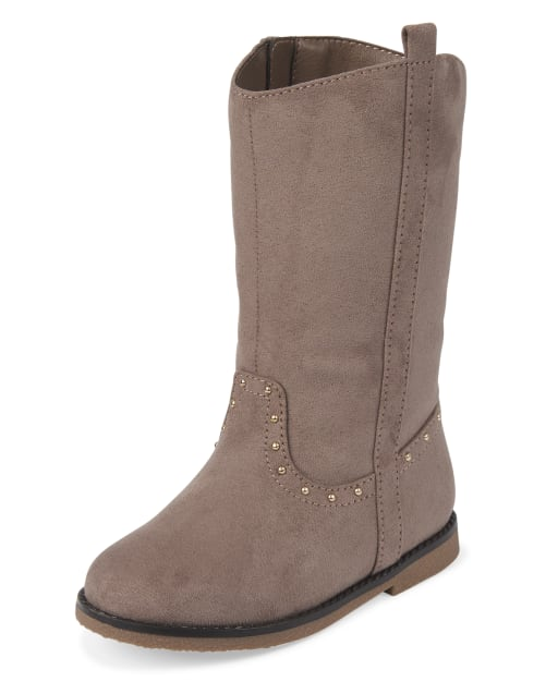 Toddler Girls Studded Faux Suede Tall Boots