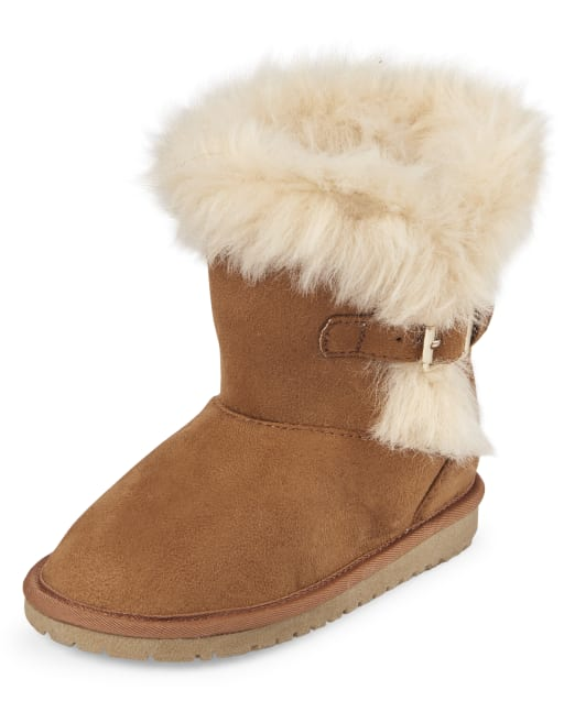 Toddler Girls Buckle Faux Fur Boots