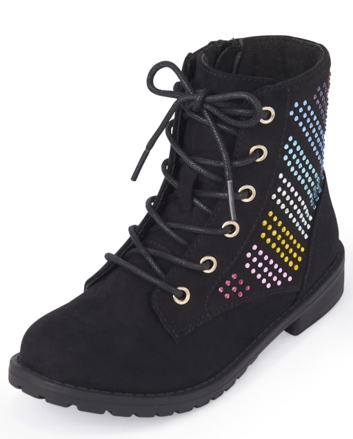 Girls Rainbow Jeweled Faux Suede Lace Up Boots