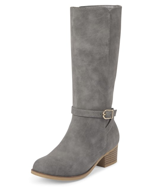 Girls Buckle Faux Suede Low Heel Tall Boots