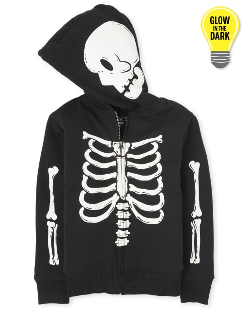 Unisex Kids Matching Family Halloween Long Sleeve Glow In The Dark Skeleton Sherpa Zip Up Hoodie