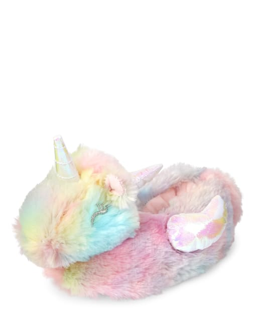 Toddler Girls Rainbow Unicorn Faux Fur Slippers