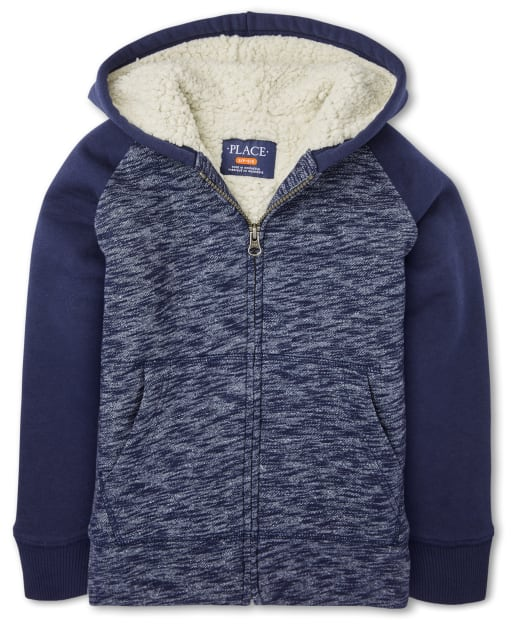 Boys Long Raglan Sleeve Marled Sherpa Lined Fleece Zip Up Hoodie