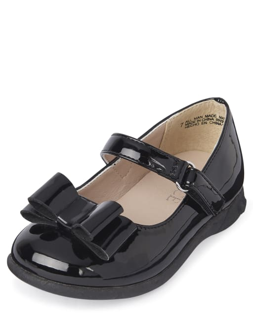 Toddler Girls Faux Patent Leather Bow Shoes