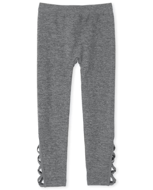 Girls Criss Cross Knit Fleece Lined Leggings