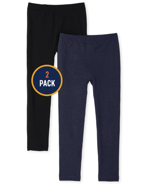 Girls Faux Denim Knit Fleece Lined Leggings 2-Pack