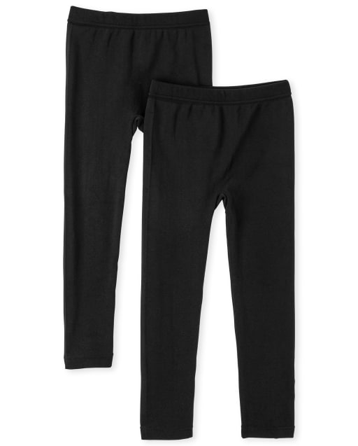 Girls Knit Fleece Lined Leggings 2-Pack