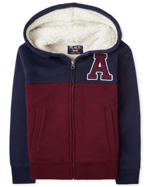 Boys Long Sleeve Sherpa Varsity Zip Up Hoodie