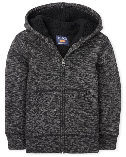 Boys Long Sleeve Marled Sherpa Zip Up Hoodie