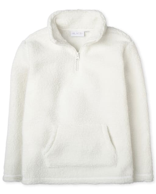 Girls Long Sleeve Sherpa Half Zip Pullover