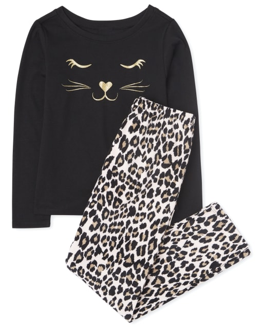 Girls Long Sleeve Leopard Cat Pajamas