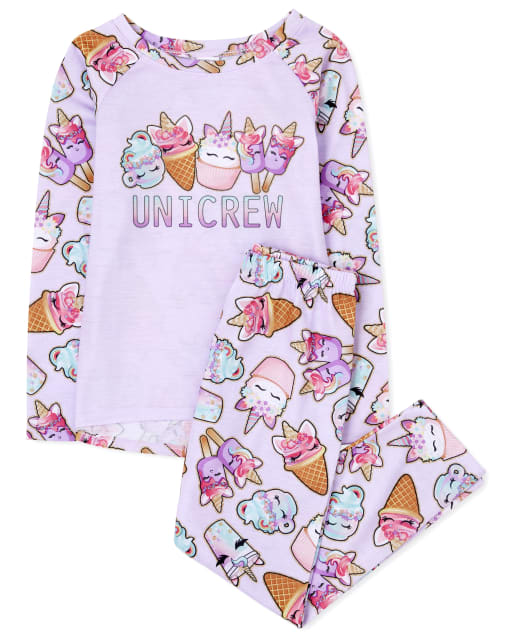 Girls Long Sleeve 'Unicrew' Pajamas