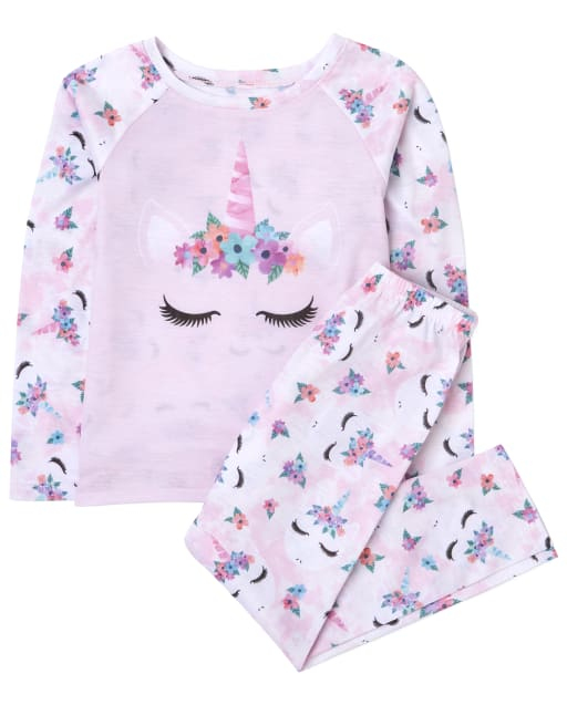 Girls Long Sleeve Unicorn Pajamas