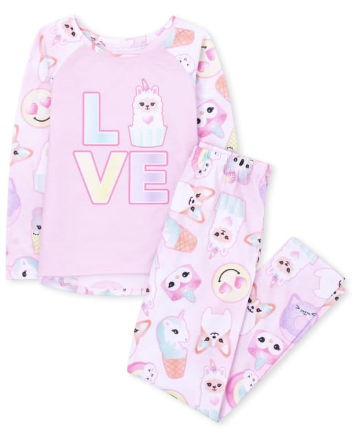 Girls Long Sleeve Squishies 'Love' Pajamas