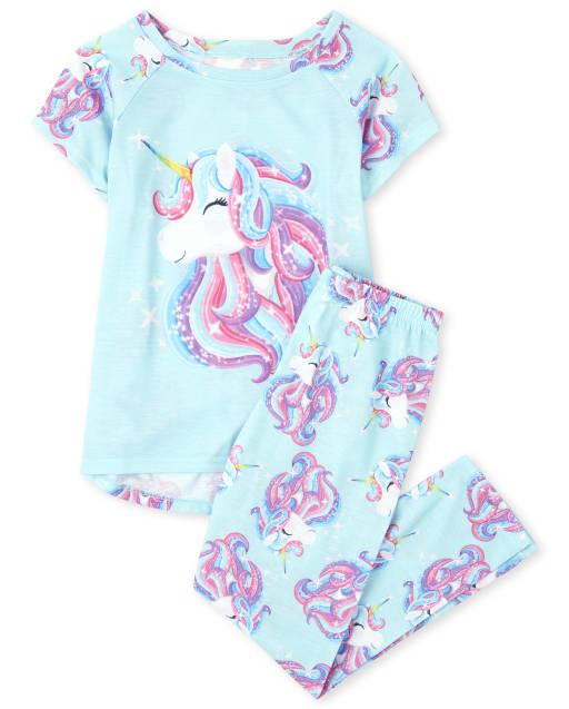 Girls Short Raglan Sleeve Unicorn Pajamas