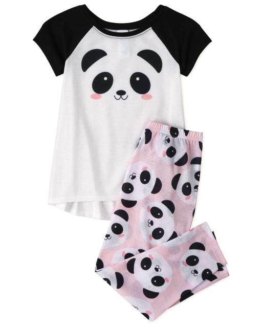 Girls Short Raglan Sleeve Panda Pajamas
