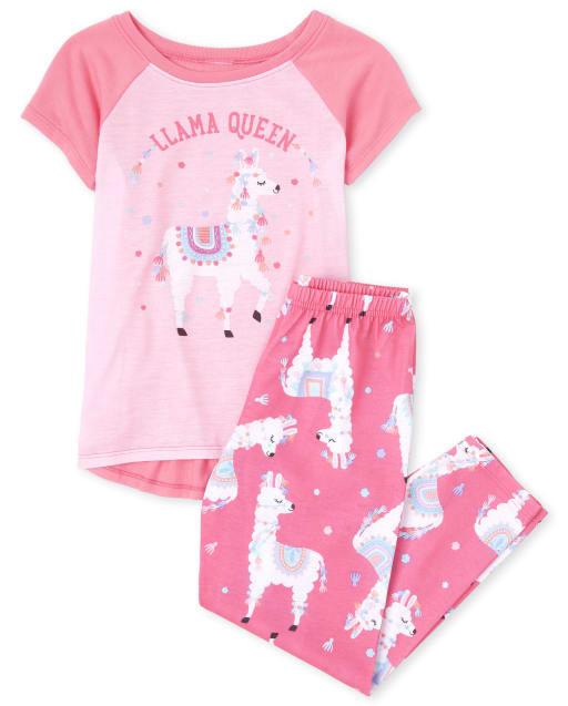 Girls Short Raglan Sleeve Llama Pajamas