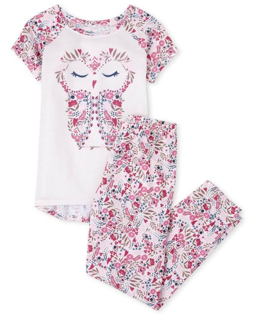 Girls Short Raglan Sleeve Owl Pajamas