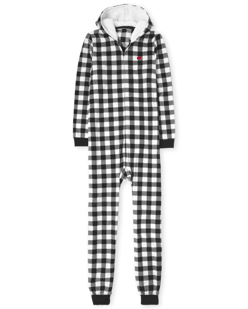 Unisex Adult Matching Family Christmas Long Sleeve Buffalo Plaid Fleece Hooded One Piece Pajamas
