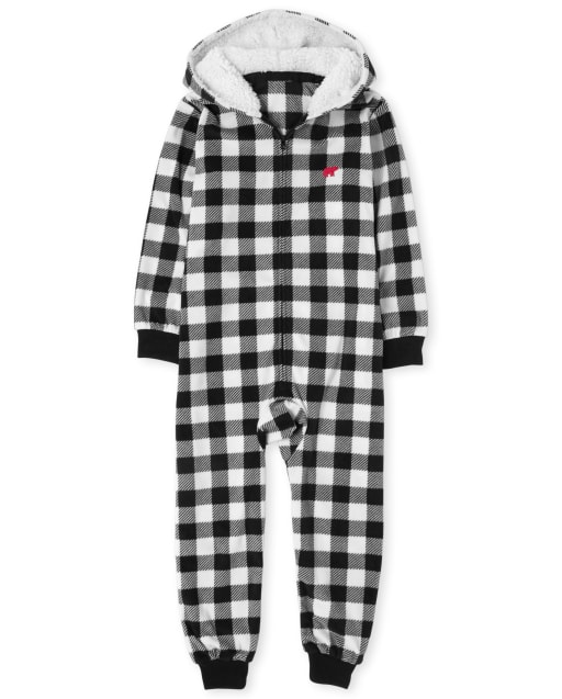 Unisex Kids Matching Family Christmas Long Sleeve Buffalo Plaid Fleece Hooded One Piece Pajamas