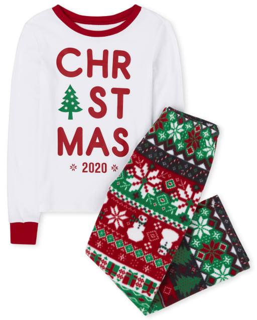 Unisex Kids Matching Family Christmas Long Sleeve Christmas Fairisle Snug Fit Cotton Top And Fleece Pants Pajamas