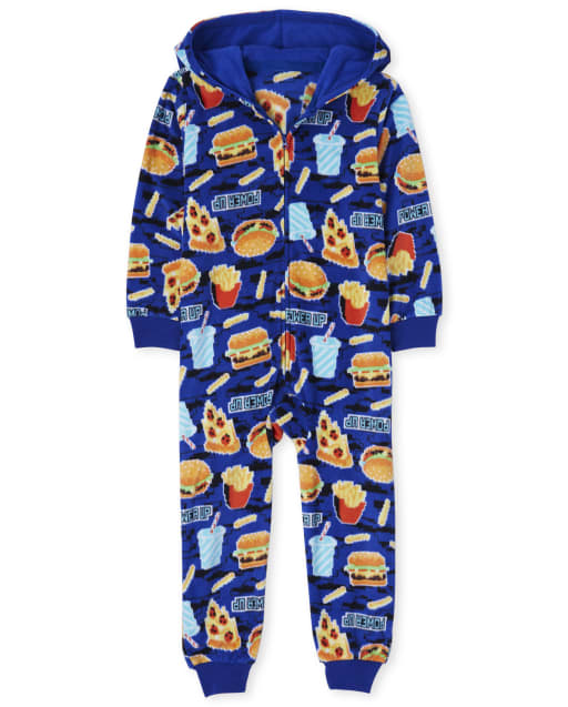 Boys Snacks Fleece One Piece Pyjamas