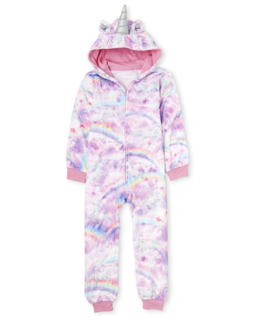 Girls Mommy And Me Long Sleeve Unicorn Cloud Print Fleece Matching Footed One Piece Pajamas