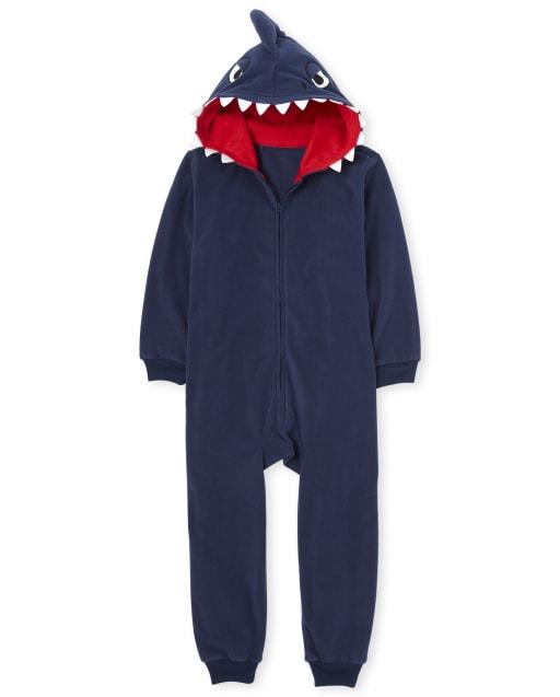 Boys Dad And Me Shark Fleece Pijamas de una pieza con capucha a juego