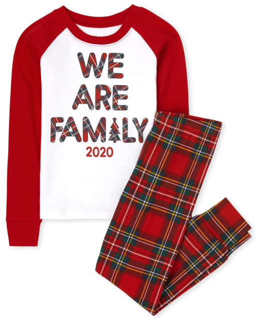 Unisex Kids Matching Family Christmas Long Raglan Sleeve Family Tartan Snug Fit Cotton Pajamas