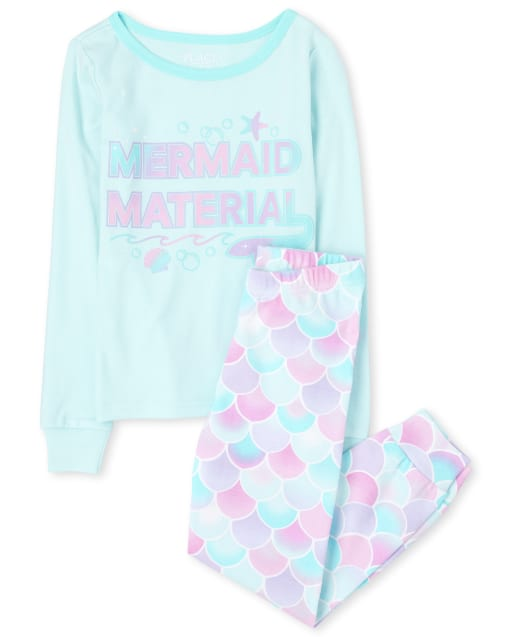 Girls Long Sleeve Mermaid Snug Fit Cotton Pajamas