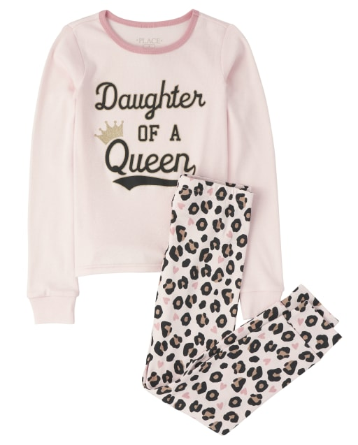 Girls Long Sleeve 'Daughter Of A Queen' Leopard Snug Fit Cotton Pajamas