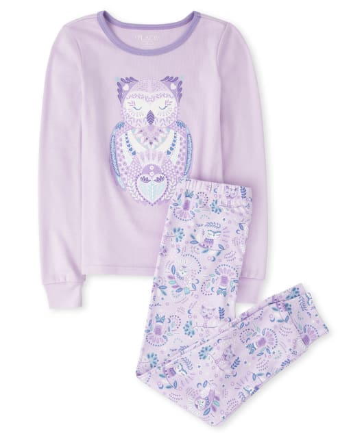 Girls Long Sleeve Owl Snug Fit Cotton Pajamas